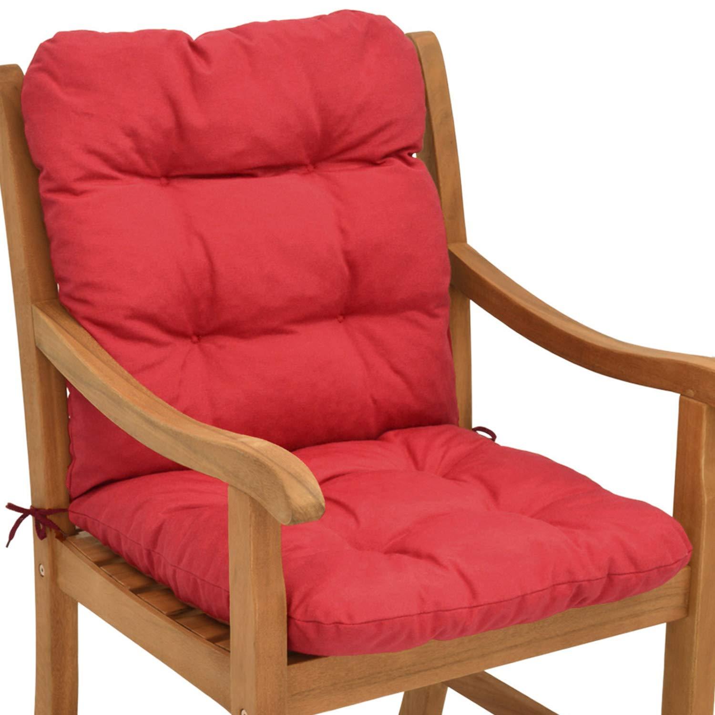 Beautissu garden chair cushion flair nl 95 x 45 x 8 cm seatpad backrest with soft foam flake padding red amazon co uk kitchen home