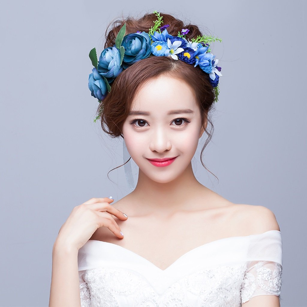 Wreath Flower, Headband Flower Garland Handmade Wedding Bride Party Ribbon Headband Wristband Hairband-Blue (Color : Blue)