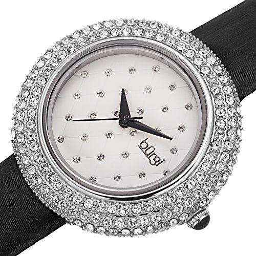 - Burgi Swarovski Crystals Encrusted Quilted Dial - Swarovski Crystals Bezel with Satin Leather Strap Women's Watch - Mothers Day Gift - BUR207SSBK (Silver/Black)