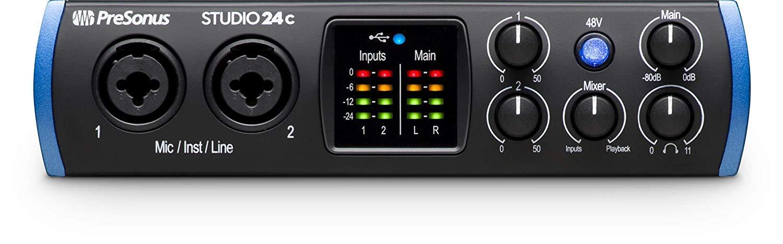 PreSonus Studio 24c 2x2 USB Type-C Audio//MIDI Interface w//Eris 3.5 Pair Studio Monitors Studio Microphone and LyxPro Recording Bundle