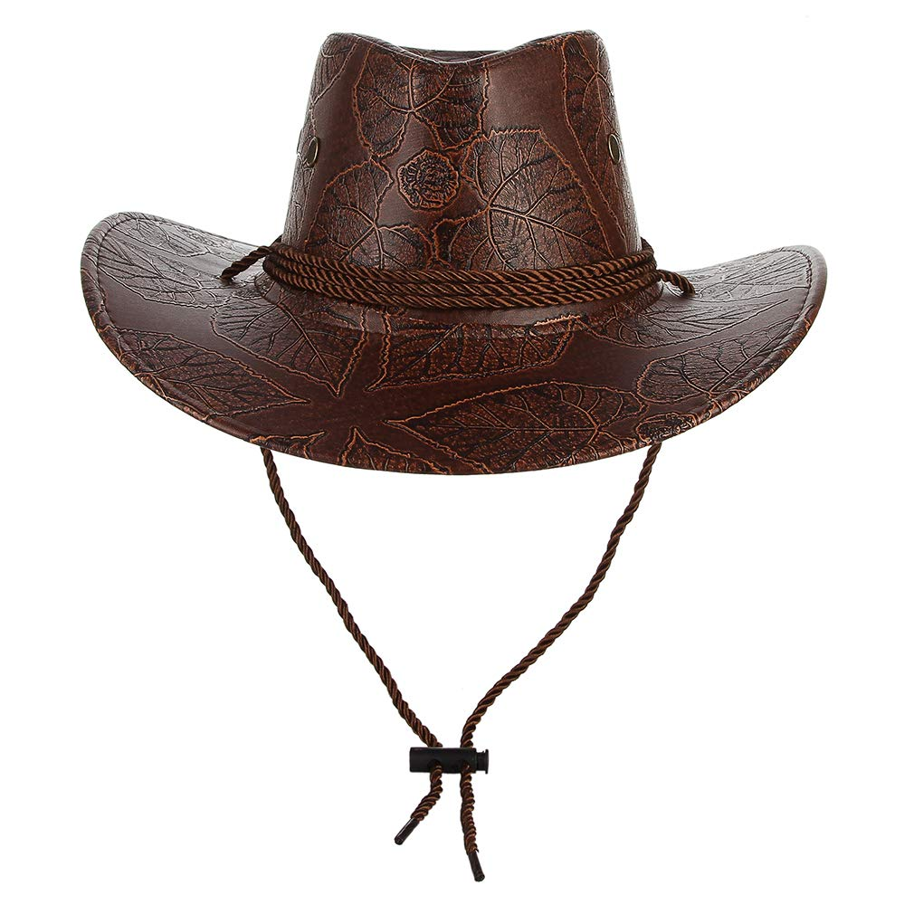 Jelord Men Womens Western PU Leather Cowboy Hat Wide Brim Outback Hat UV Protection