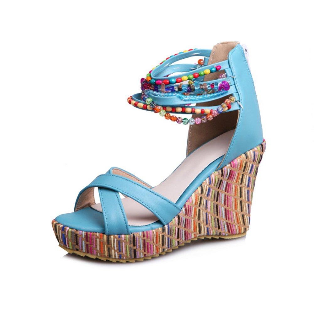 Sandaletten High Heels Plateau Bouml;hmisch Sommer Wedges Schuhe Keilabsatz Peeptoe Pumps Perlenketten Damen  36 EU|Blau