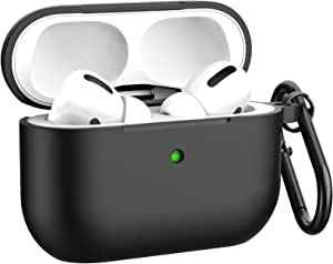 Airpods Pro Case Cover, BELONGME Silicone Protective Case Cover with Keychain for Apple Airpods Pro Case Men Women [Front LED Visible]-Black.
