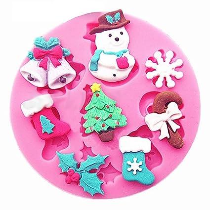 Molde de silicona para uso alimentario - Copo de nieve - Campanas - Árbol de Navidad