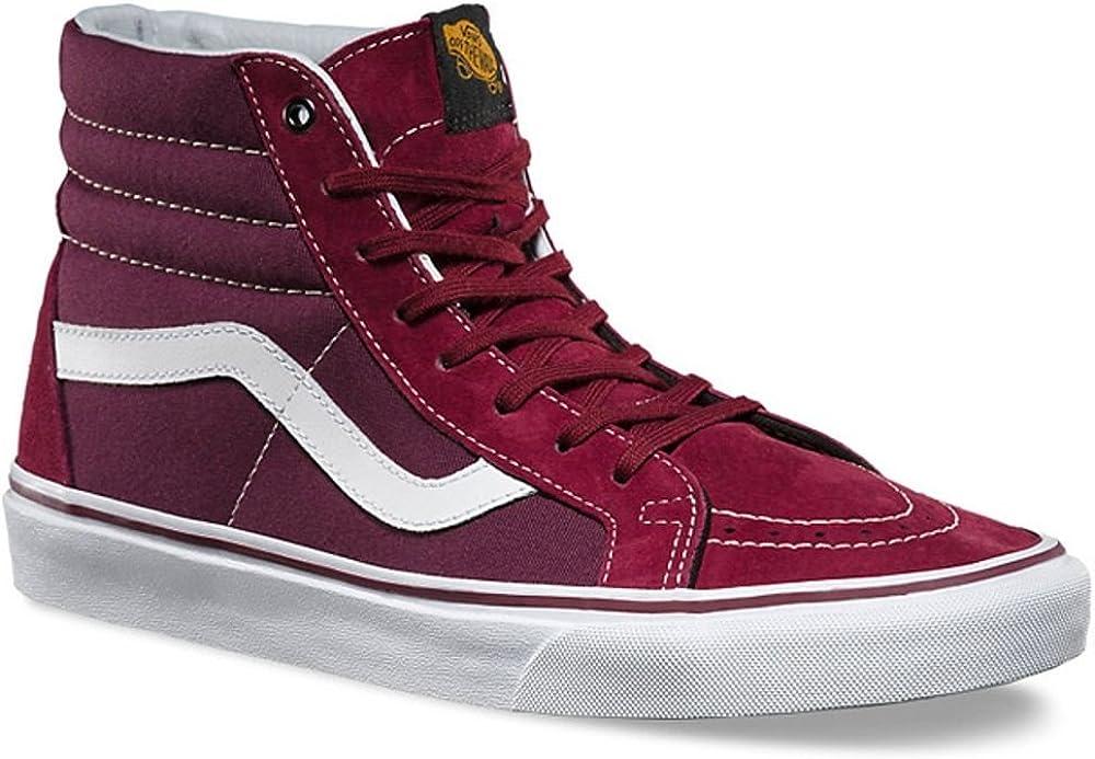 Vans SK8 Hi Burgundy White Suede Mens Mid Trainers Shoes 9