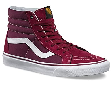 db9aa4c799d711 Vans SK8 Hi Burgundy White Suede Mens Mid Trainers Shoes-9  Amazon ...