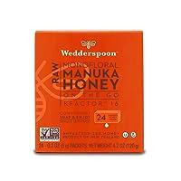 Wedderspoon On The Go Raw Premium Manuka Honey KFactor 16, Unpasteurized, Genuine New Zealand Honey, Multi-Functional, Non-GMO Superfood, 4.0 Ounce (24 Count)
