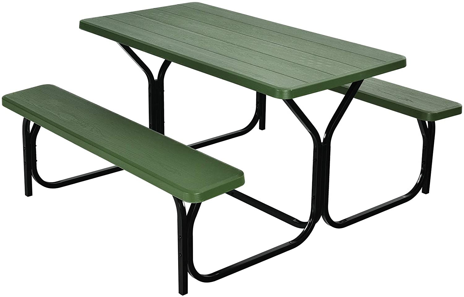 Giantex Picnic Table Bench Set Outdoor Camping All Weather Metal Base Wood-Like Texture Backyard Poolside Dining Party Garden Patio Lawn Deck Furniture Large Camping Picnic Tables for Adult (Green)