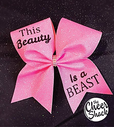 This Beauty Is A Beast, Pink Glitter, Cheer Bow, Hair Bow - Image 1