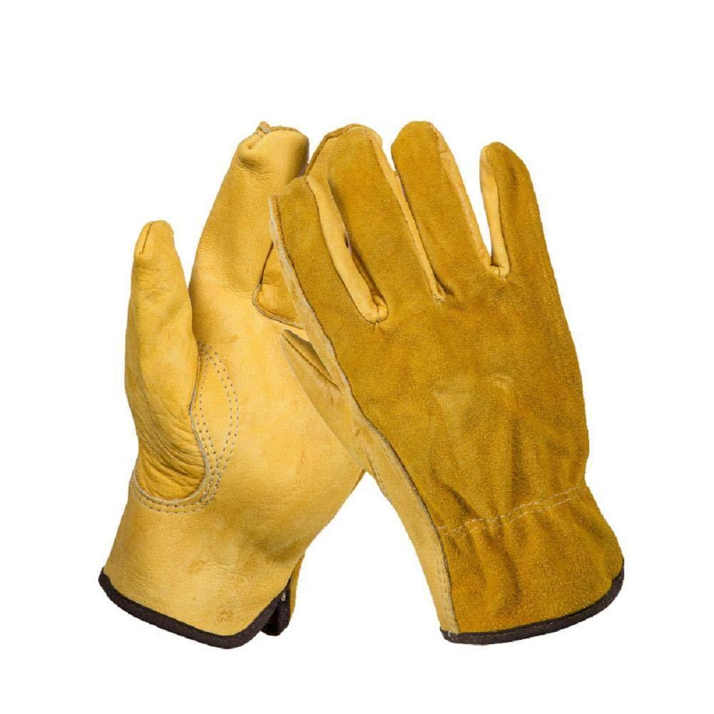 Renquen 1 par Reforzados duraderos y Flexibles Resistentes al Agua Ajustados Guantes de Trabajo de Piel a Prueba de espinillas