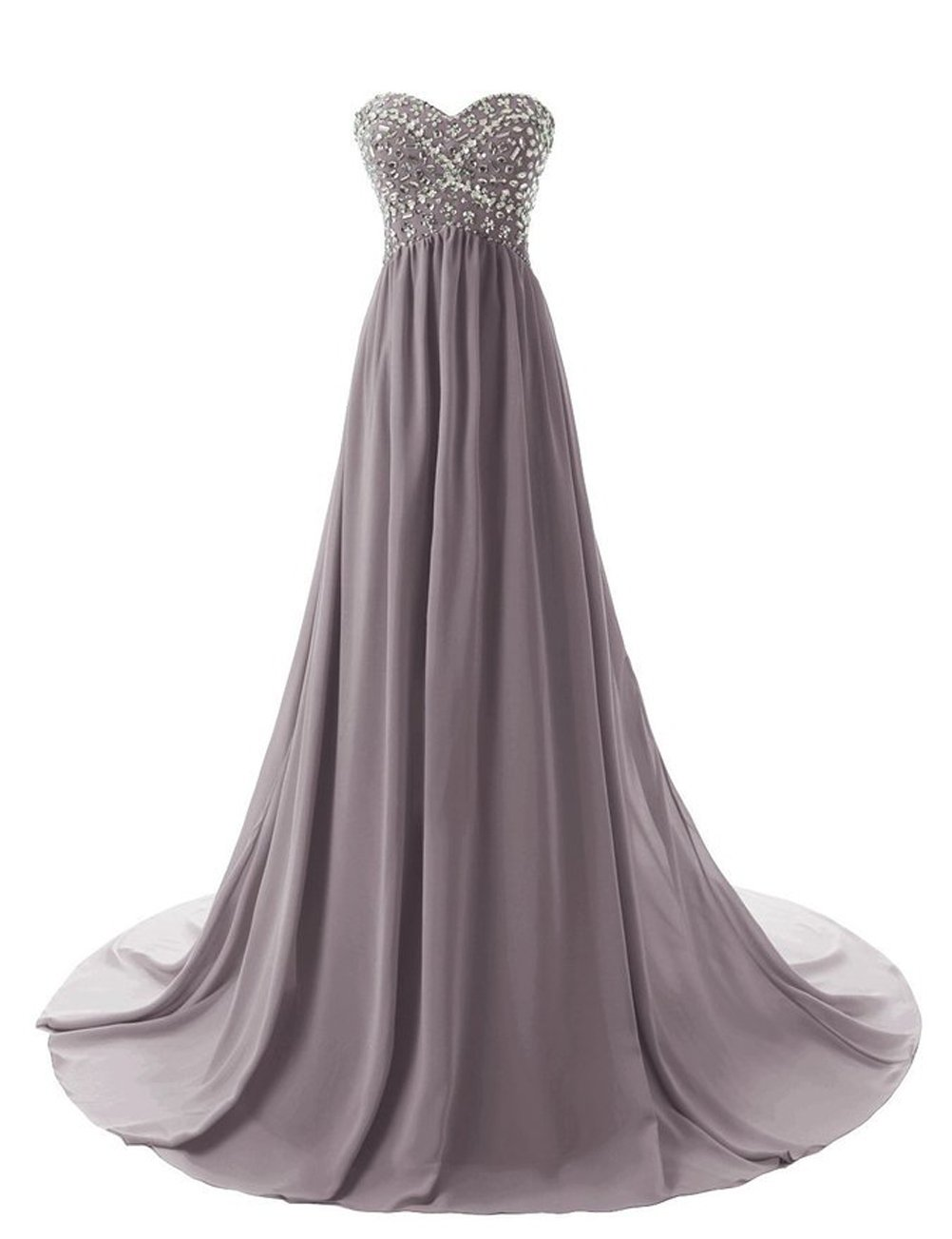 Uryouthstyle Strapless Beaded Chiffon High Low Long Sweetheart Maternity Dress