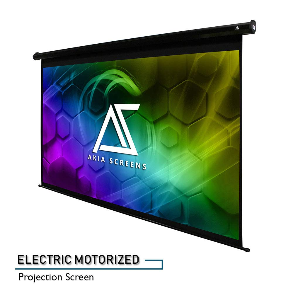 """Akia Screens 110"""" Motorized Electric Projector Projection Screen 16:9 8K 4K Ultra HD 3D Ready Wall/Ceiling Mounted 12V Trigger Remote 8K 4K Ultra HD 3D Ready Movie/Home Theater AK-MOTORIZE110H1"""