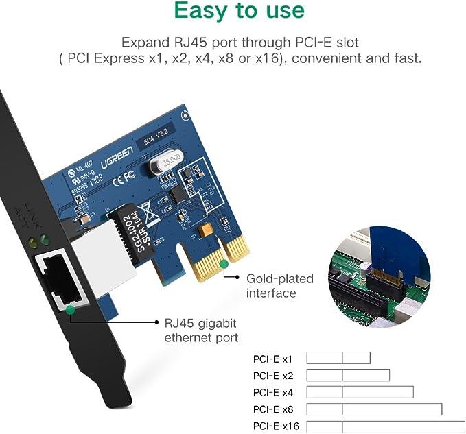 UGREEN Tarjeta de Red Gigabit Ethernet PCI Express 10/100/1000 Mbps con Puerto Gigabit Ethernet RJ45 y Perfil Doble, Adaptador de Red Gigabit PCIe Compatible con Windows 10/8/ 7/ Vista/XP: Amazon.es: Electrónica