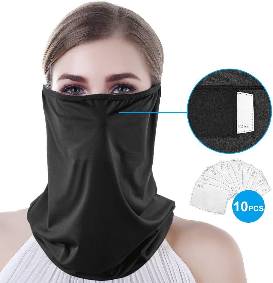 Polaina de cuello con 10 piezas de filtro de carbono de seguridad protección facial mascarilla mascarilla máscara de motocicleta pañuelo de tela multifuncional (Negro, talla única)