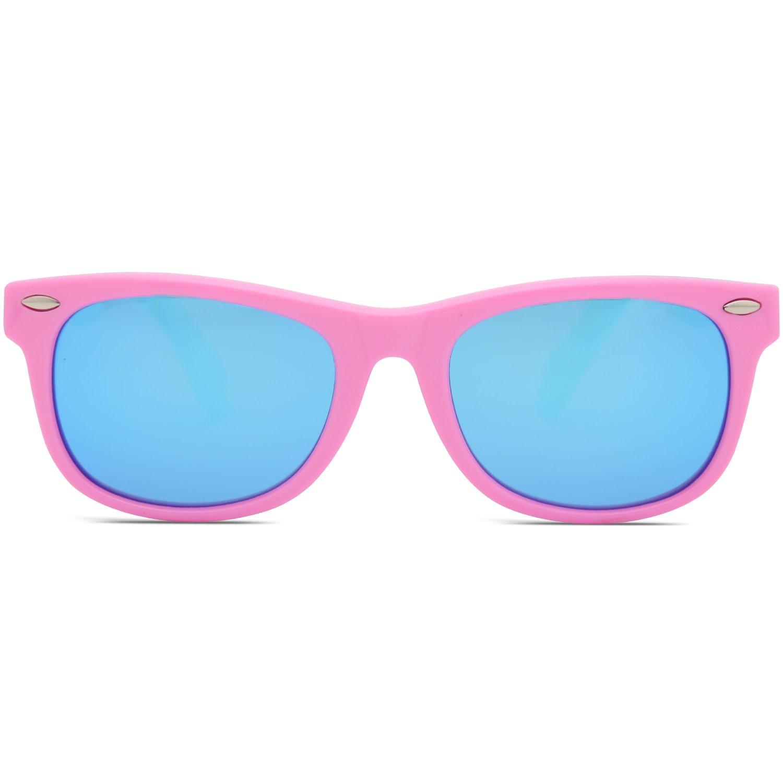 SOJOS Kinder Wayfarer Flexible Silikon gummiert verspiegelt Sonnenbrille für Jungen und Mädchen SK205 mit Rosa Rahmen/Rosa Linse 4IbbwcfeS