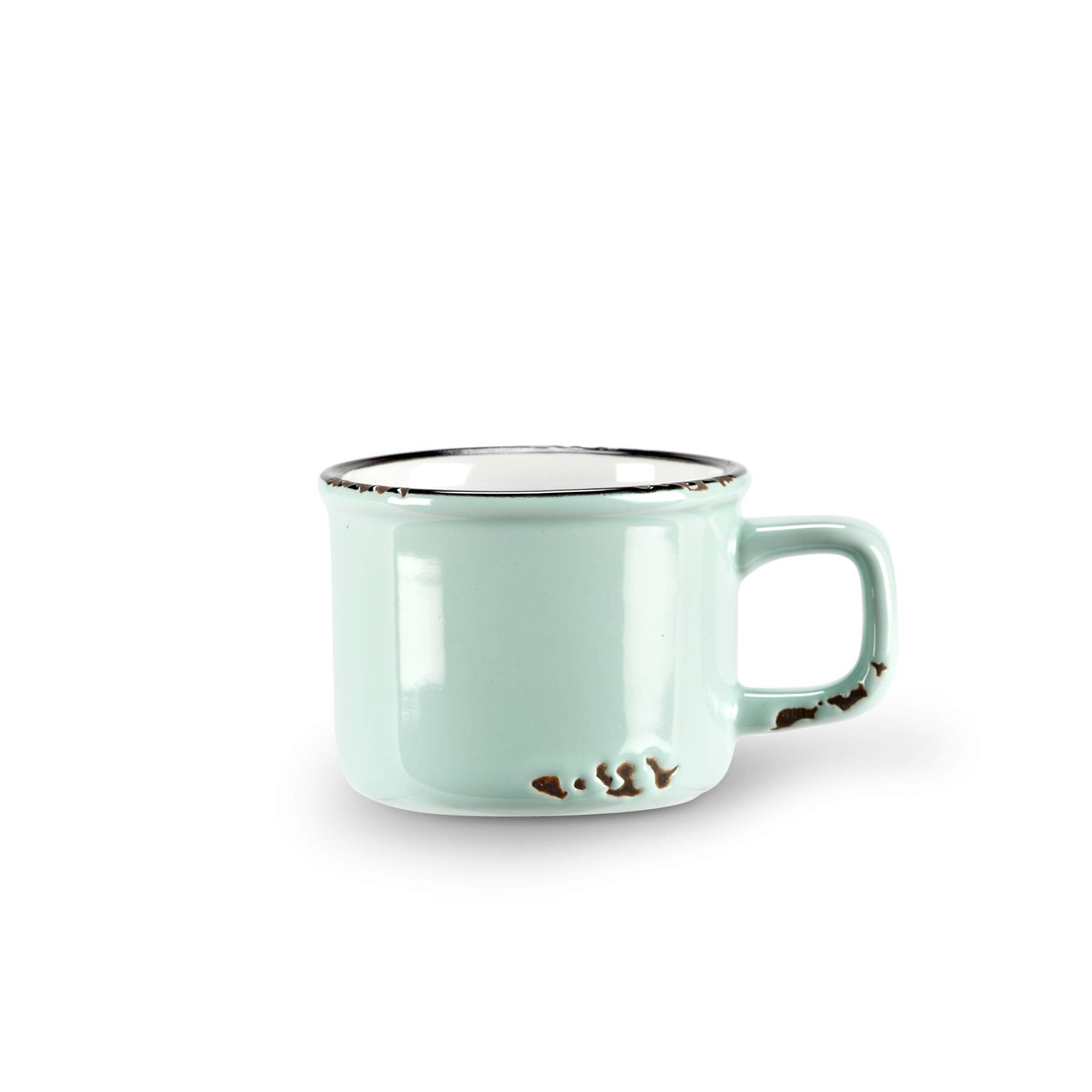 Abbott Collection Enamel Look Stoneware Espresso Cup, Green