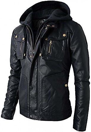 New Men/'s Motorcycle Biker Brando Style Vintage Real Leather Hoodie Jacket