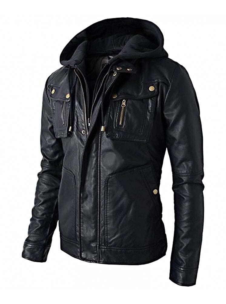 RealSkin New Men's Motorcycle Brando Style Biker Real Leather Hoodie Jacket - Detach Hood