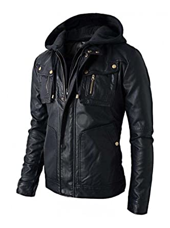 83920b20f215 SuperSkySeller New Men's Motorcycle Brando Style Biker Real Leather Hoodie  Jacket - Detach Hood: Amazon.co.uk: Clothing