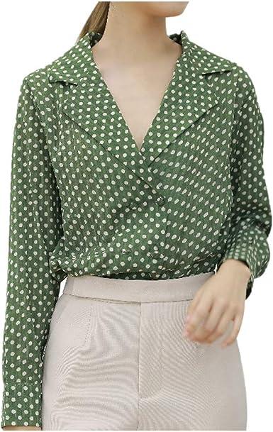 SMILEQ Blusa con Cuello en V y Manga Larga con Estampado de Lunares para Mujer Blusas Sueltas Ocasionales Botones Camisa: Amazon.es: Ropa y accesorios