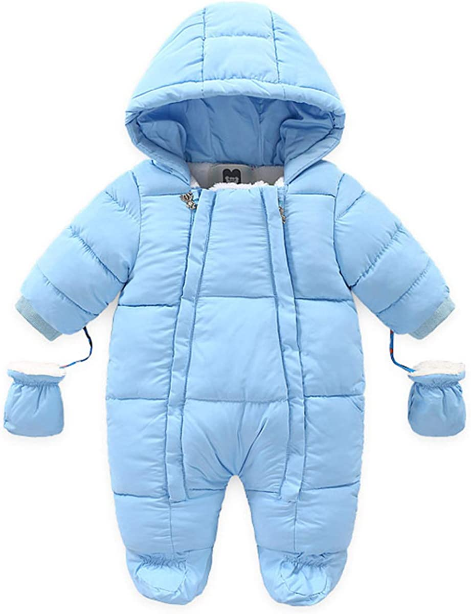 Lemohome Baby Snowsuit Outfit Fleece Lined Outwear Romper with Gloves