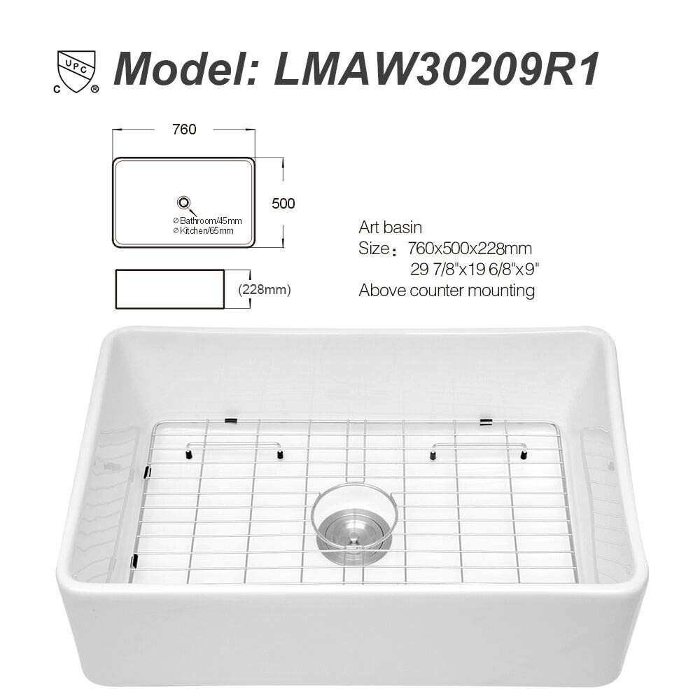 Logmey 32 Apron-Front Double Bowl Farmhouse White Porcelain Ceramic Fireclay Kitchen Sink