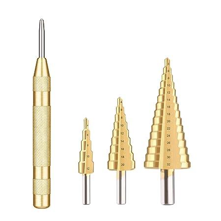 MOHOO Kegelbohrer 3pcs Stufenbohrer 4-12 mm/4-20mm/4-32mm mit Automatischer Zentrierstempel bohrer set metall HSS titannitrie