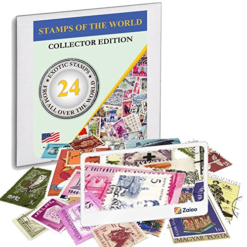 Zaioo World Stamp Collectors Kit ♥ 24 Stamps from All Over The World + Magnifying Lens Bundle for Stamps Collector Edition from Zaioo