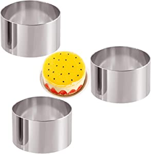 HMIN Round Cake Rings Mold, Mini Cake & Pastry Ring Round Food Ring Stainless Steel, Dessert Food Rings Food Molding Set (Round 3.5In-3PCS)