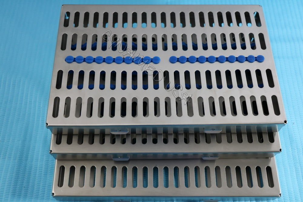 GERMAN STEEL SET OF 3 EACH DENTAL AUTOCLAVE STERILIZATION CASSETTE RACK BOX TRAY FOR 20 INSTRUMENT