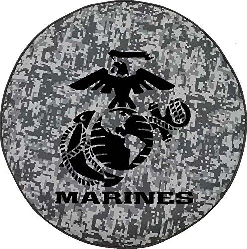 (American Unlimited Urban Digital Camo Denim - US Marines Eagle Globe Anchor Crest USMC Semper Fi Spare Tire Cover Black 33 in)