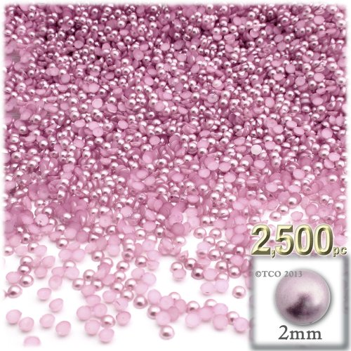 The Crafts Outlet 2500-Piece Pearl Finish Half Dome Round Beads, 2mm, Satin Pink