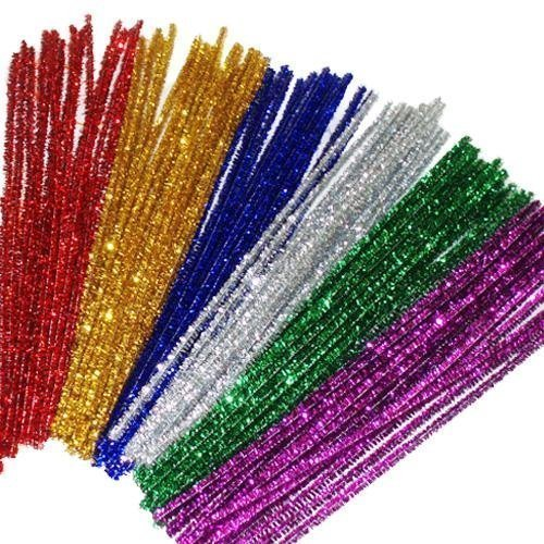 (jijAcraft 240 Pcs Glitter Pipe Cleaners 12 Colors Colored Tinsel Chenille Stems Metallic Pipe Cleaner for DIY Crafts,Arts,Wedding,Home,Party,Holiday Decoration(6 mm x 12 Inch))