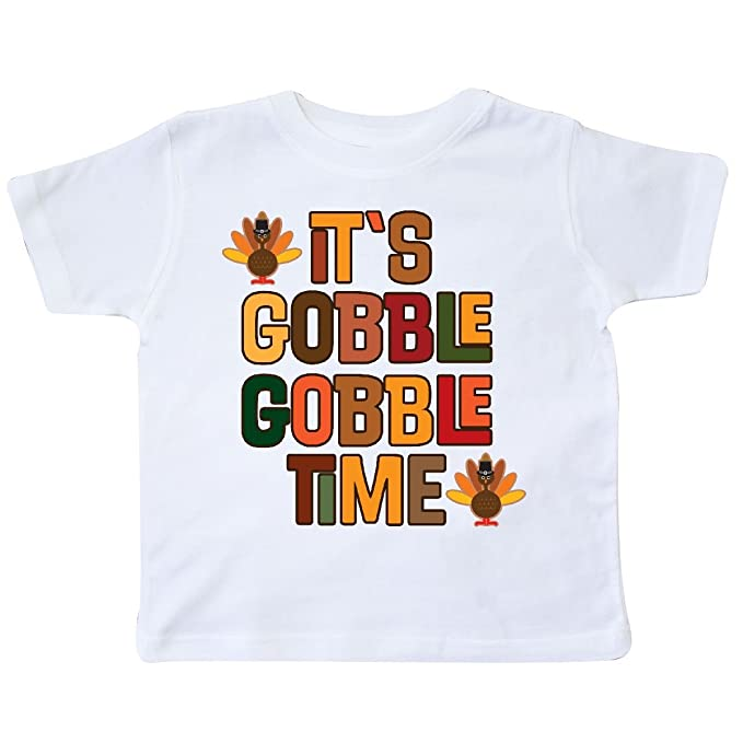 0dbfad99a inktastic - Thanksgiving Gobble Time Turkey Toddler T-Shirt 2T White 2d524