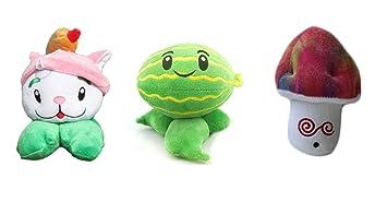 Vida Star plantas Vs Zombies juguetes 3pcs hipnótico seta gato Cola invierno melón Pult peluche 15