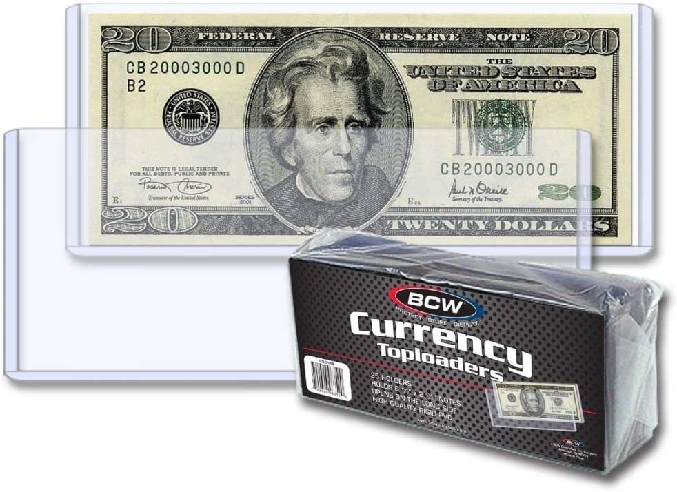 50 Count Pack BCW Semi Rigid Large Bill Currency Holders For Larger Notes