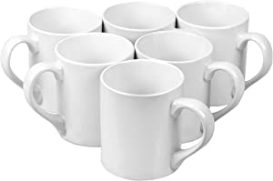 Klikel 6 White Mugs Sleek - 12oz Solid Flat Bottom Porcelain Dinnerware - Ceramic Mug Set - Coffee Tea Hot Cups - Lead Free