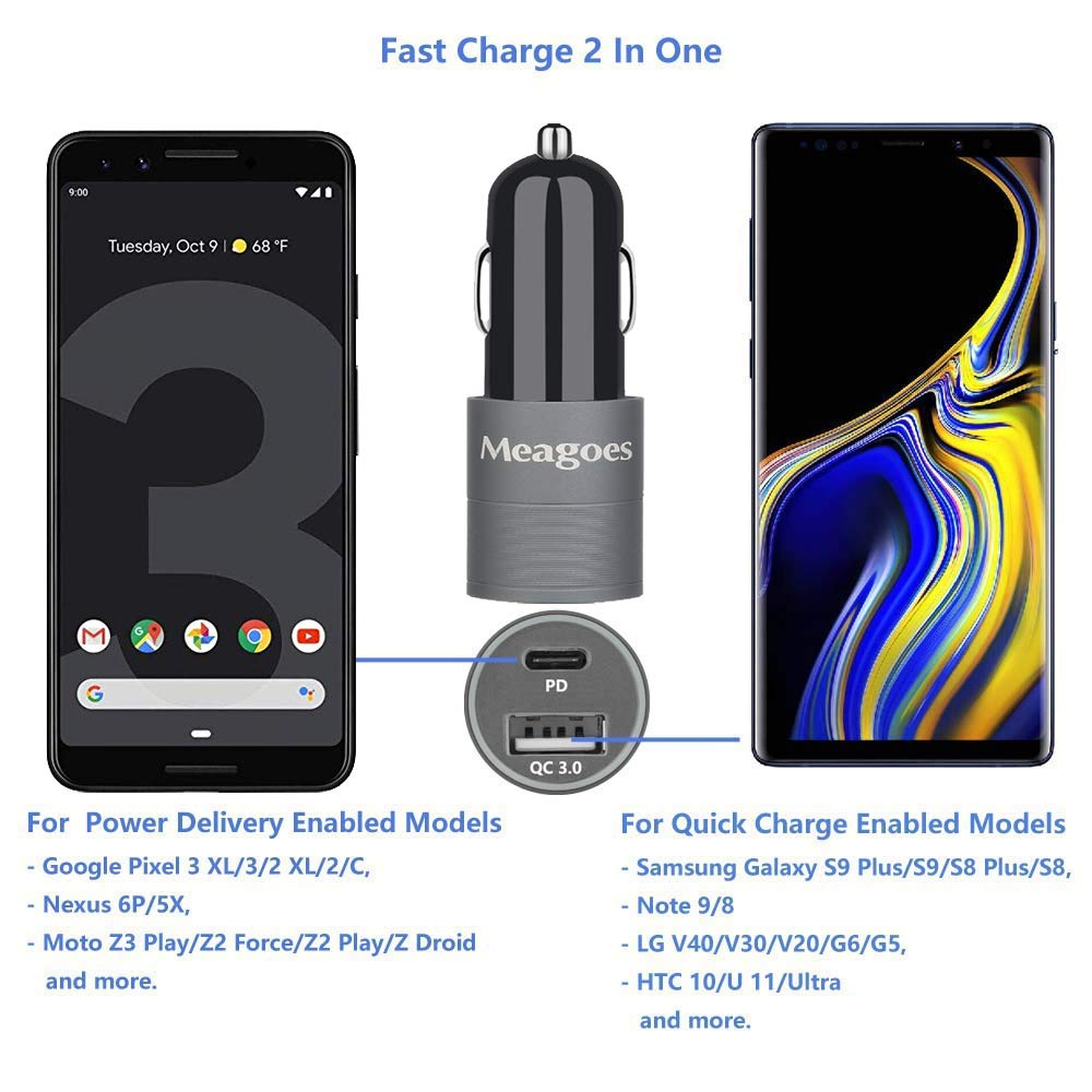 Meagoes Rapid USB PD Car Charger, Compatible for Google Pixel 4 XL/4/3 XL/3/3a XL/3a/2 XL/2/XL, Moto Z3 Play/Z2, 18W Power Delivery and Quick Charge ...