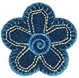 1 3/4'' x 1 3/4'' Denim Blue Flower Iron on Sew on Patch