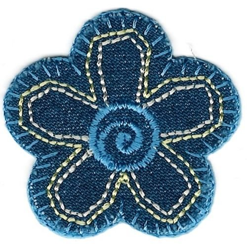 1 3/4'' x 1 3/4'' Denim Blue Flower Iron on Sew on Patch by ika_kev