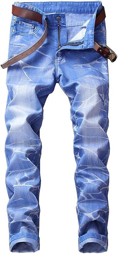 LZNEV Mens Slim Fit Straight Ripped Denim Jeans