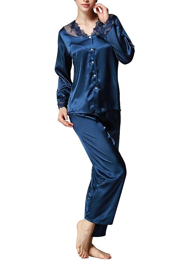 Dolamen Pijamas para mujer, Mujer Satin camisones Pijamas Raso, Bordado de flores de encaje Satén suave y cálido Manga larga y pantalones largos: Amazon.es: ...