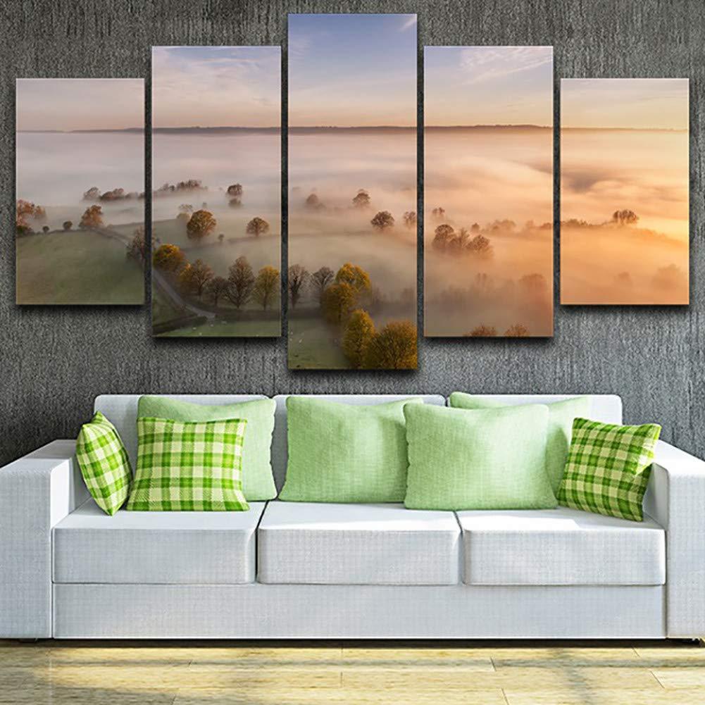 WZYWLH Poster Für Wohnzimmer Moderne HD Gedruckt Bilder 5 Panel Foggy Hills Bäume Landschaft Wandkunstausgangsdekor Rahmen Leinwand malerei