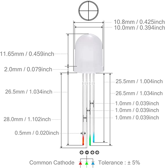 2 mm Red//Pure Green 3 Lead Diffused Common Cathode LED Pack of 50