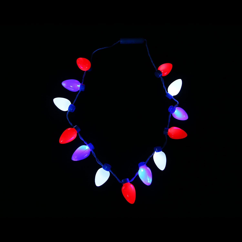Fun Central BC684 LED Patriotic Bulb Necklace LED Bulb Necklace Light Up Bulb Necklace Glow in The Dark Bulb Necklace LED Necklace Glow Necklace