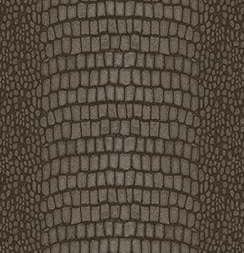 Papier Peint à Motif Python Effet Simili Cuir En Vinyle Expansé Avec Presse  à Relief Marron