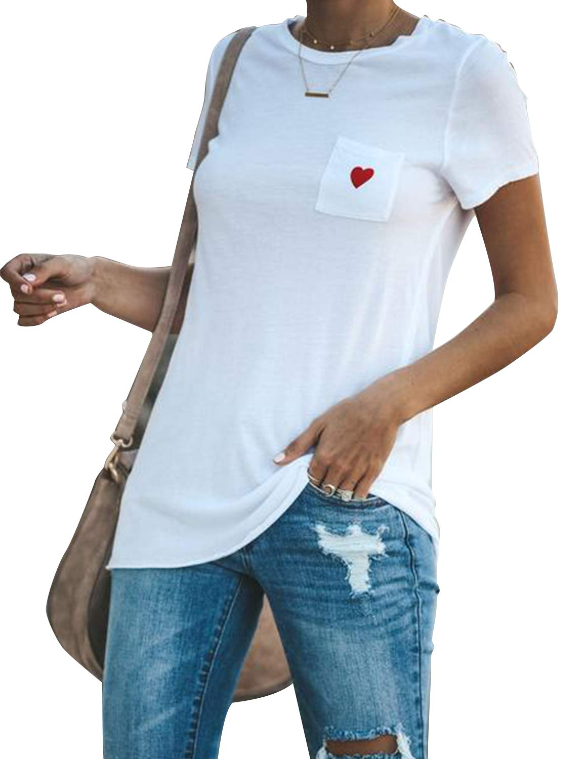 BMJL Women's Basic T Shirt Pocket Floral Heart Short Sleeve Blouse Casual Top White