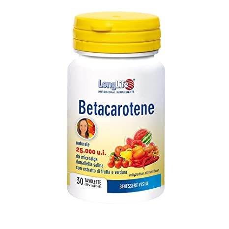 Long Life – Betacarotene 15 mg 25000 U.I. – 30 Tabletas de 750 ml G |