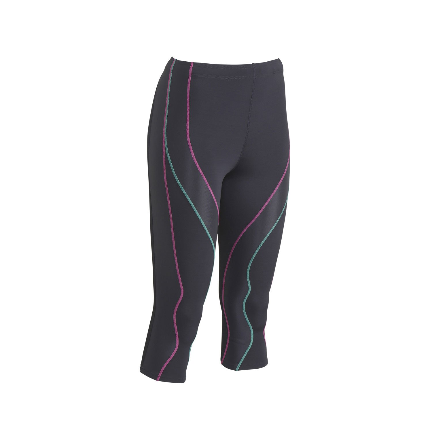 CW-X Women's 3/4 Performx Tights, Grey/Pink/Turquoise, X-Small