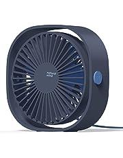 COMLIFE Ventilador USB de Escritorio Potente y Silencioso Mini Fan de Mesa Personal 3 Velocidades Rotación de 360 Grados para Oficina, Hogar, Viaje etc.